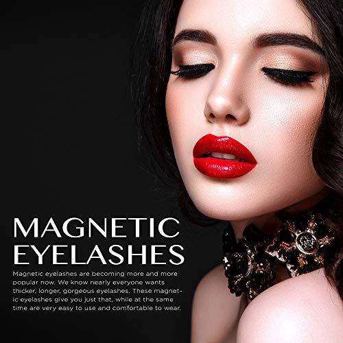 Aroamas Magnetic Eyeliner and Magnetic Eyelash Kit, Reusable Silk False Lashes, No Glue Easier To Use Than Traditional Eyelashes