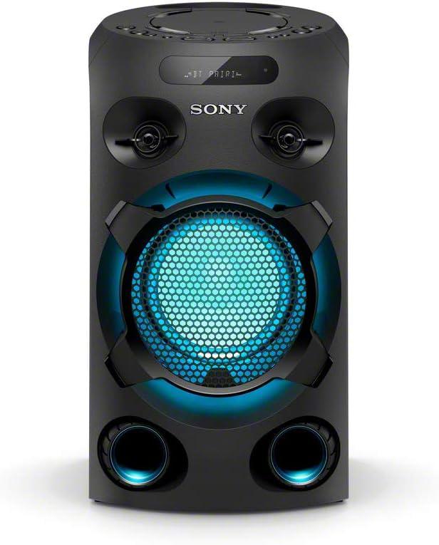 Sony MHC-V02 - Sistema de Audio de Alta Potencia (Bluetooth, Sonido de Graves de Largo Alcance Jet Bass Booster, luz Azul, Entrada de Guitarra y Karaoke) Negro