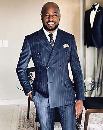 P/&G Herren Streifen Zweiteiler Peak Revers Anzug Zweireiher Klassischer Anzug