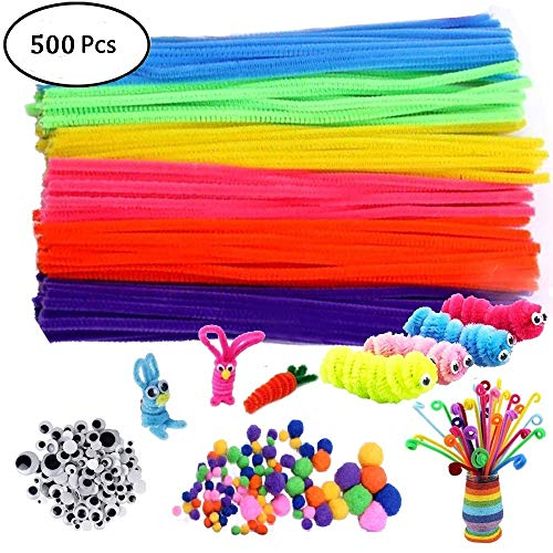 500Pcs Pipe Cleaners Craft Set,Including 100 Pcs Chenille Stems 200 Pcs Pom Poms Craft 200 Pcs Wiggle Googly Eyes Self Adhesive,Assorted Colors and Assorted Sizes for DIY Art -