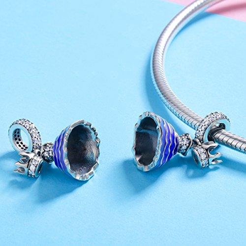BAMOER 925 Sterling Silver Dream of Princess Love CZ Bead Charm for DIY Snake Chain Bracelet by BAMOER (Image #3)