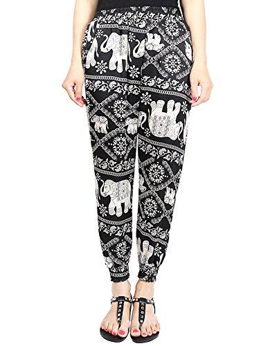 las Mujer Harem Pantalones del Estampado Floral Bohemia pantalones ocasionales del verano de playa 15