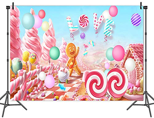 Fanghui 5x3FT Lollipop Candy Love Backdrop Baby Shower Birthday Party Banner Dessert Table Background Photo Booth Props Decor ()