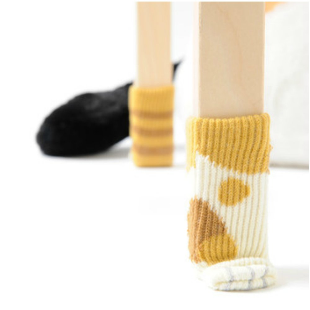 16PCS (4 Sets) Chair Socks Floor Protector Cute Cat Paw Furniture Socks For Carpet Wood BambooTiles Floors Table Leg Pads Knitting Wool Scratches and Noises Free (Orange Tabby)