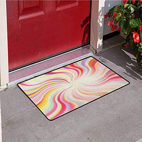 GloriaJohnson Pastel Commercial Grade Entrance mat Abstract Sunburst Design Wavy Lines Sixties Seventies Style Psychedelic Retro Rays for entrances garages patios W31.5 x L47.2 Inch Multicolor -