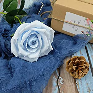 Baby Blue Paper Rose Unique Anniversary Gift For Her Handmade Crepe Paper Flowers for Valentine Birthday Mother Day, Single Long Stem Real Looking, 01 Flower 2