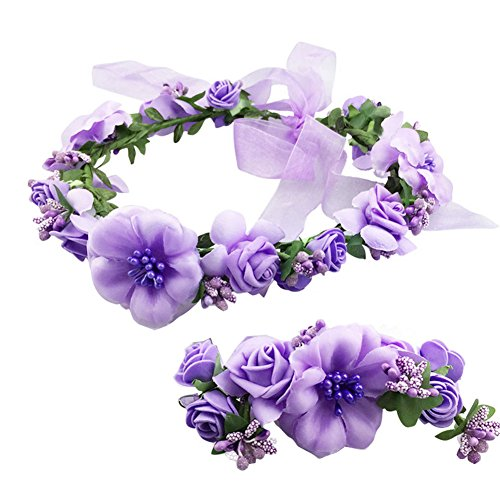 SZTARA Fashion Flower Garland Handmade Fabric Rose Beaded Wedding Party Ribbon Headband Wrist Band Set for Teens Brides Bridemaid Girls Purple