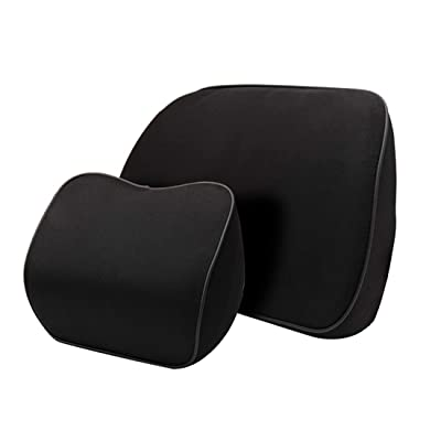 awave bloom Lumbar Support&Headrest Neck Pillow Kit for Car Seat,Memory Foam Cushions for Car,Office,Home,Black: Automotive