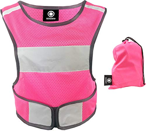 Reflective Vest - Reflective Running Gear for Men and Women for Night Running, Biking, Walking. Reflective Running Vest, Safety Straps, Reflector Strips (Pink Vest) (Pink Womens Safety Vest)