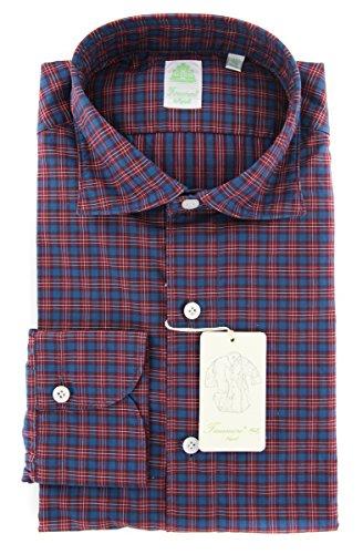 Finamore New Napoli Red Plaid Extra Slim Shirt (Red Napoli Shirt)