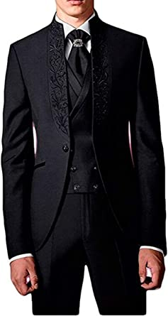 Botong Black Men S Suits 3 Pieces Wedding Suits With Embroidery Jacket Vest Pants Groom Tuxedos Party Suits At Amazon Men S Clothing Store