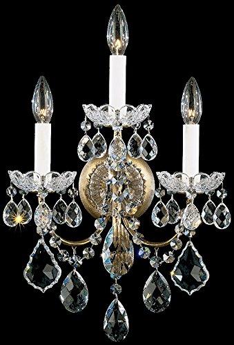 Schonbek 3652-22TK New Orleans 3-Light Wall Sconce with Golden Teak Crystals from Swarovski, Heirloom Gold