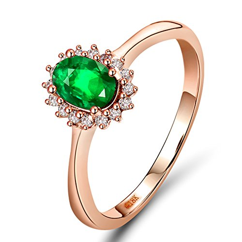 Lanmi Solid 14K Rose Gold Natural Green Emerald Diamonds Engagement Ring Wedding Rings for Ladies Women Mother