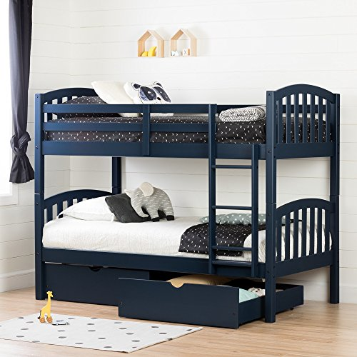 South Shore 11824 Ulysses Solid Wood Bunk Beds Navy Blue