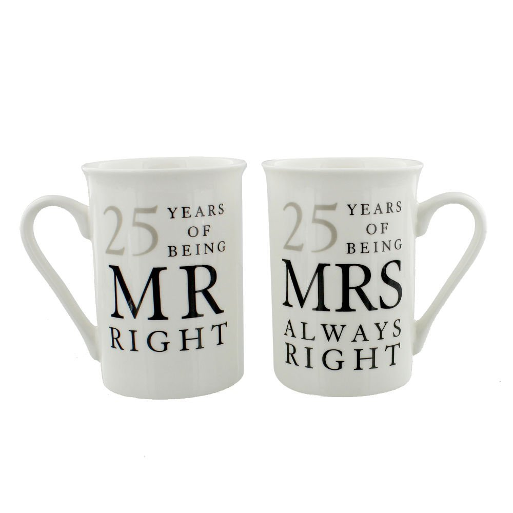 Ivory 25th Anniversary Mr Right & Mrs Always Right Mug Gift Set by Haysom Interiors