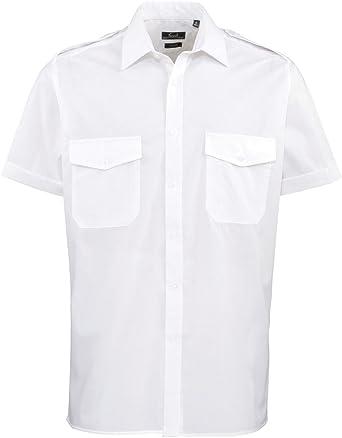 Premier para Hombre Businesswear Piloto de Manga Corta Camiseta Azul Azul Claro Talla única: Amazon.es: Ropa y accesorios