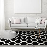 iCustomRug Soft And Plush Trellis Frise Shag Area Rug For Contemporary Interior