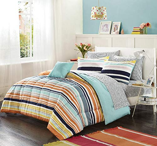 (Horizontal Stripe Aqua Turquoise Queen Bed in A Bag,Orange Navy Twin Bedding,Pink Yellow White Contrast Neutral Tones Decorative Printed Sheet Soft Cozy Elegant Reversible Multi Colorful Beautiful)
