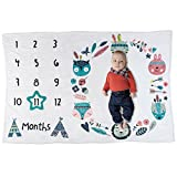 "Baby Monthly Milestone Premium Blanket - Woodland Tribal Boho Animal Design for Boy or Girl, Luxuriously Soft Fleece, Large 60"" x 40"", Great Shower or Registry Gift (Turquoise Star Frame)"