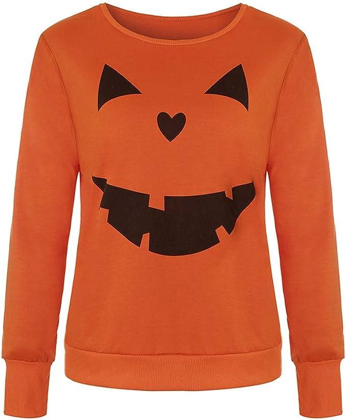 Vectry Mujer Casual Impresión De Halloween Camiseta De Manga Larga ...