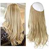 SARLA 14' 16' 18' 4.3oz Synthetic Wavy Halo Hair Extension Natural Hairpieces No Clip No Glue No Tape (M03, 16H613 Dirty Blonde)