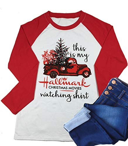 This is My Hallmark Christmas Movie Watching Shirt Women Funny Red Truck Long Sleeve Christmas Tree Cute Tops Blouse(Medium,Red)
