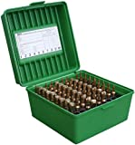 25 35 ammo - MTM 100 Round Deluxe Handled Flip-Top Rifle Ammo Case .22-250 to 58 Win Mag (Green)