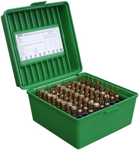 MTM Case-Gard Deluxe R-100 Series Small Rifle Ammo Box, 100 Rounds, Green