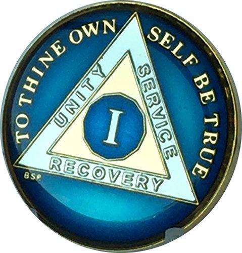 - 1 Year Midnight Blue AA Medallion Chip Tri Plate Gold & Nickel Plated Serenity Prayer