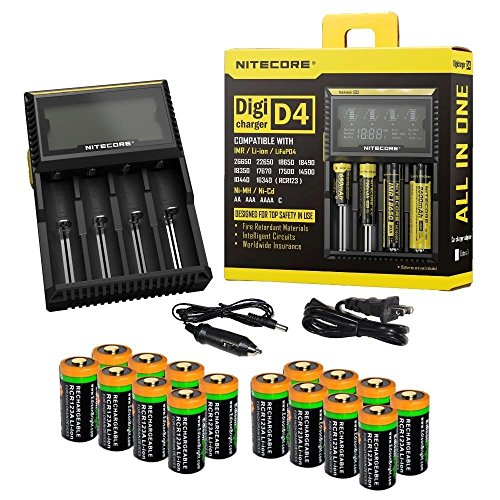 16 Pack EdisonBright EBR70 700mAh type 16340 rechargeable CR123A RCR123A 3.7v li-ion batteries with Nitecore D4 smart digital battery charger digicharger for home & car bundle