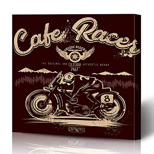 Ahawoso Canvas Print Wall Art 16x16 Inch Ethnic Biker Cafe Racer Graphics for Cool Guys Motorbike Motorcycle Badge Bike Design Blue Modern Artwork Printing Home Decor Wrapp Gallery Painting