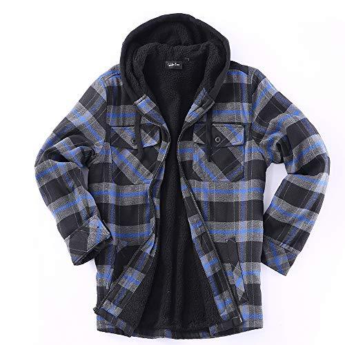 Golden Tree Men Full Zip Hoodie Flannel Jacket Sherpa Lined (X-Large, S-Black,Blue)