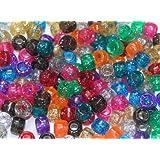 Transparent Glitter Plastic Pony/Barrel Beads 1000pk