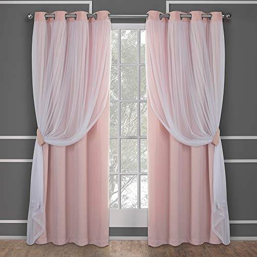 - Exclusive Home Curtains Catarina Layered Solid Blackout and Sheer Window Curtain Panel Pair with Grommet Top, 52x84, Rose Blush, 2 Piece