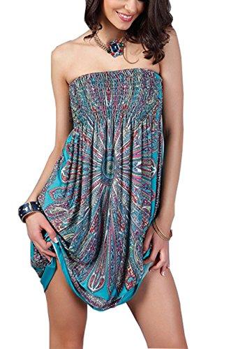 YiYaYo Womens Sexy Bohemian Vintage Strapless Summer Tube Top Dress Beachwear Blue M (Tube Top Summer)