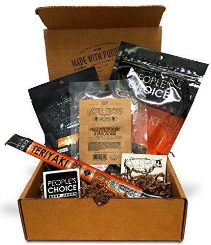 People's Choice Beef Jerky - Jerky Box - Sweet Tooth - Meat Snack Sampler Gift Basket for Guys - 4 Items (Los Angeles Gift Basket)