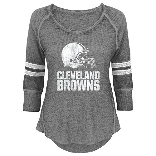 Outerstuff NFL Junior Girls Relaxed 3/4 Thermal Top, Cleveland Browns, Heather Grey, M(7-9)