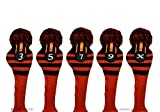 Pacific Golf Clubs Head Covers 3 5 7 9 X Black and Orange Knit Retro Old School Vintage Stripe Pom Pom Throwback Classic