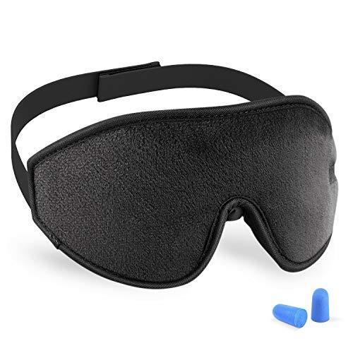 3D Sleeping Mask Eye Cover, Cshidworld Patented Design 100% Blackout Sleep Mask Contoured Comfortable Lightweight Adjustable Eye Mask & Blindfold for Travel, Nap, Shift Works (Black)