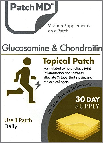 Glucosamine & Chondroitin Sulfate Joint Pain Relief Topical Patches By PatchMD-100% Safe, Natural Ingredients That Repair & Form Cartilage & Collagen -Reduce Inflammation & Stiffness - 30 Patches
