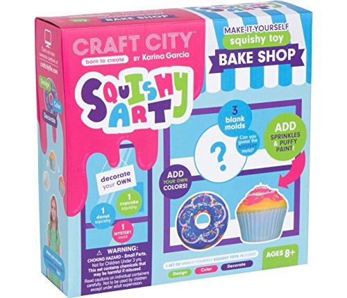 Craft City Karina Garcia DIY Squishy Art: Bake Shop | Make Your Very Own Cupcake and Donut Squishy Toys | Mystery Shape Included | Creates 3 Squishy Toys -