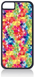 Colorful Prism Pattern - Case for the Apple Iphone 5-5s Universal-Hard Black Plastic Outer Shell with Inner Soft Black Rubber Lining-(NOT 5C)