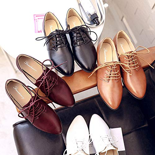 Up Leisure Pointed Lace Ladies Toe Leather Office Evening Women Dress Ladies Vintage Shoes White Single Flats zHxWyq5cn