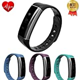 LEMFO C6 Bluetooth Smart Pedometer Bracelet IP67 Waterproof Activity Tracker Heart Rate Monitor Fitness Wristband OLED Touch Screen Exercise Tracker for Android IOS Smart Phones (Black)