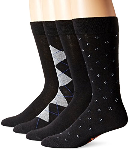 Dockers Men's 4 Pack Argyle Dress, Black, Sock Size:10-13/Shoe Size: 6-12