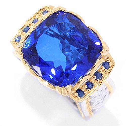 Michael Valituttii Palladium Silver Brazilian-Cut Quartz Doublet & Blue Sapphire Ekaterina Solitaire ()