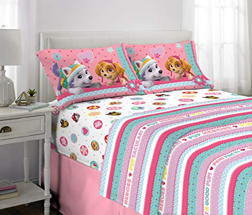 Nickelodeon Paw Patrol Kids Bedding Soft Microfiber Sheet Set, Full Size 4 Piece Pack, Pink/White Girls Design