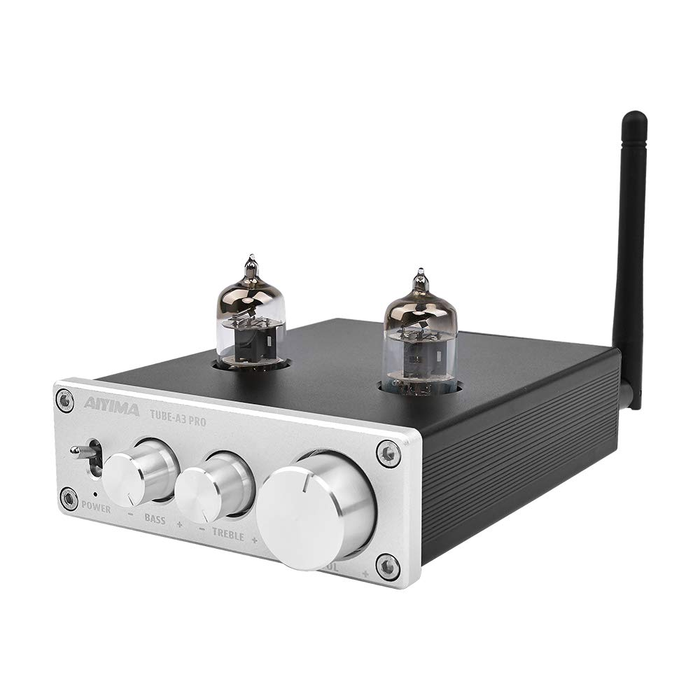 AIYIMA Audio 6J1 Tube Preamplifier Bluetooth 5.0 HiFi Treble & Bass Adjustment Audio Preamplifier DC12V Amplifier Preamp NE5532P Chips for Home Theater System(Silver+BT 5.0)