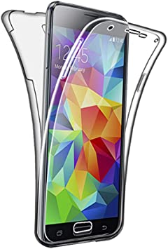 SDTEK Funda para Samsung Galaxy S5 / S5 Neo 360 Doble Delantera [Transparente Carcasa] Full Body Case Bumper Cover Suave Silicona Samsung Galaxy S5 / S5 Neo: Amazon.es: Electrónica