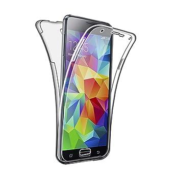 SDTEK Funda para Samsung Galaxy S5 / S5 Neo 360 Doble Delantera [Transparente Carcasa] Full Body Case Bumper Cover Suave Silicona Samsung Galaxy S5 / ...